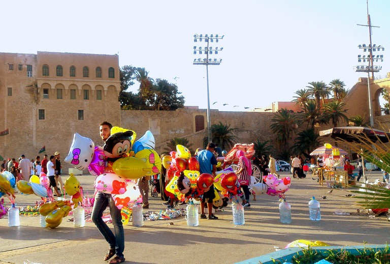 Tripoli's Martyrs' Square, the landmark known for the Arab Spring protests, turns into a children's wonderland during Eid.   © Sarah Elmusrati