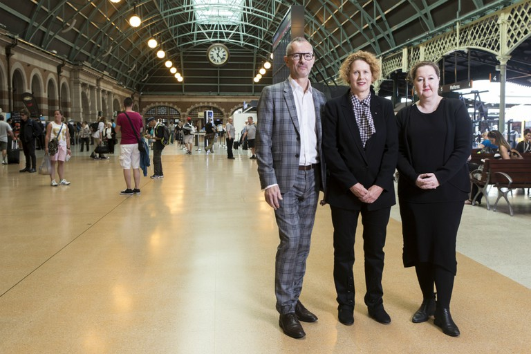 Three directors of the partnering institutions behind the new exhibition, Dr Michael Brand (Art Gallery of NSW), Elizabeth Ann Macgregor (the MCA) and Lisa Havilah (Carriageworks) | Courtesy of The National