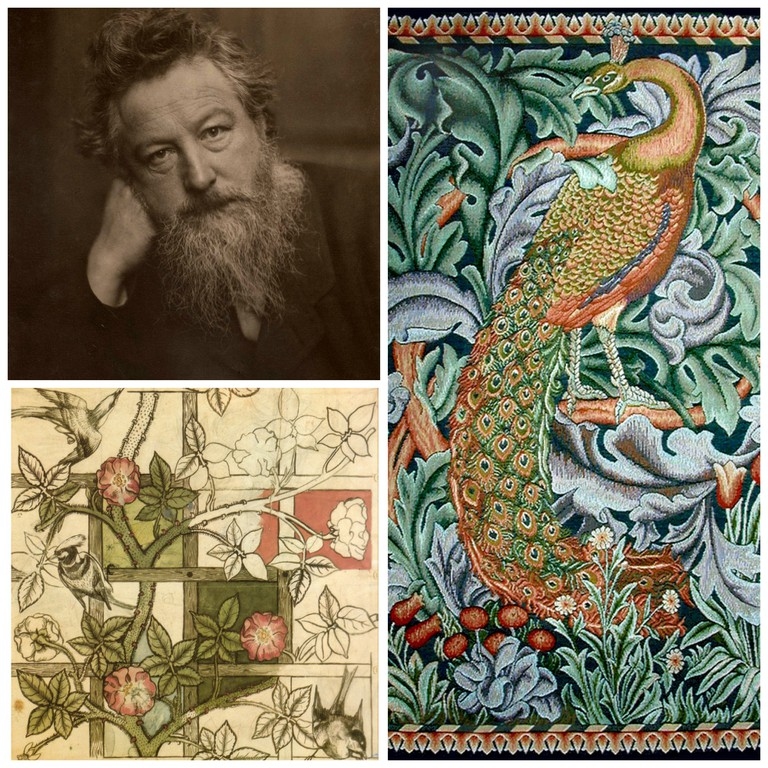 William Morris, aged 53|Wikicommons / William Morris' original deisgn for his 'Trellis' wallpaper, 1862|Wikicommons / Detail from William Morris' tapestry, 'The Forest', 1887|©Plum leaves/Flickr