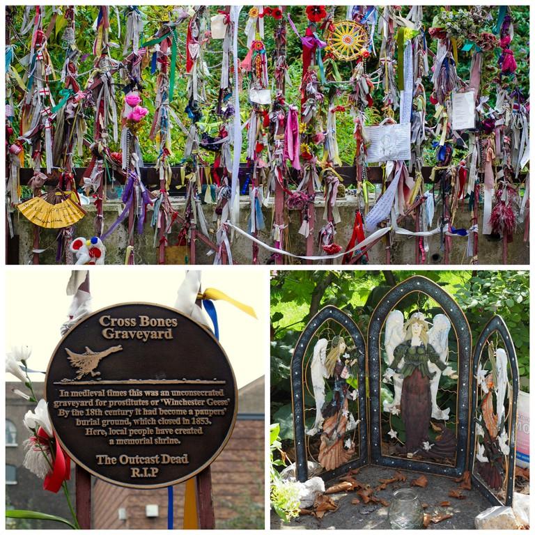 The gates of Cross Bones|©Garry Knight/Flickr / Cross BOnes' memorial plaque|©M. J. (trailerfullofpix)/Flickr / A shrine inside the community garden|©Ungry Young Man/Flickr