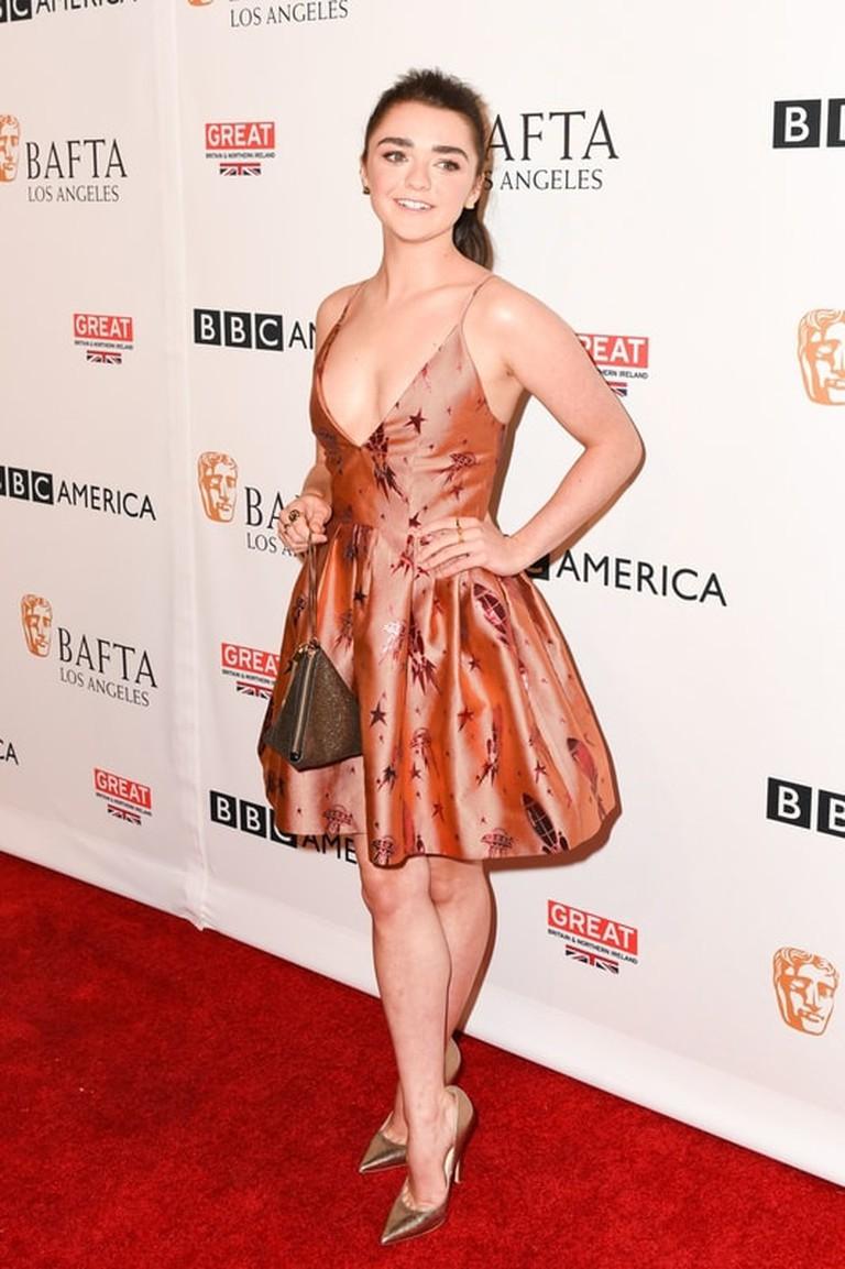 Owen Kolasinski/BFA/REX/Shutterstock Maisie Williams BAFTA Los Angeles BBC America TV Tea Party, Los Angeles, USA