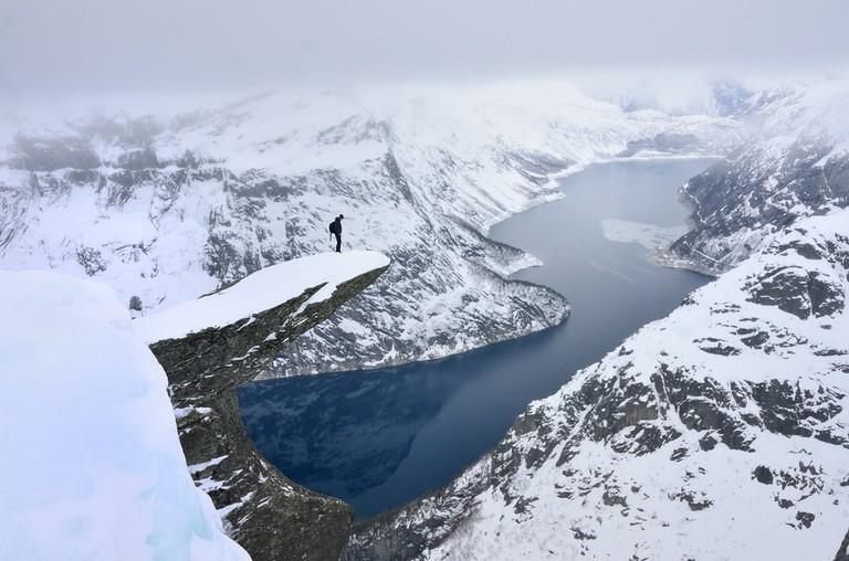 Trolltunga in winter, Norway © kovop58