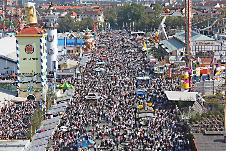 Crowds of people at Oktoberfest on Munich's Theresienwiese
