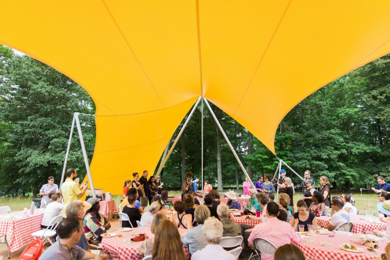 Lyceum I: The Picnic at The Meeting House, by Sam Durant, August 13, 2016 at The Old Manse, Concord. Part of the Art and The Landscape series presented by The Trustees of Reservations. Photos © Above Summit.
