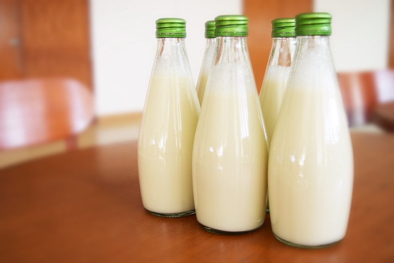 Raw milk in a bottle