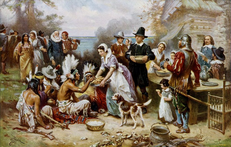 The First Thanksgiving 1621, oil on canvas by Jean Leon Gerome Ferris (1899) | Public Domain/Wikicommons