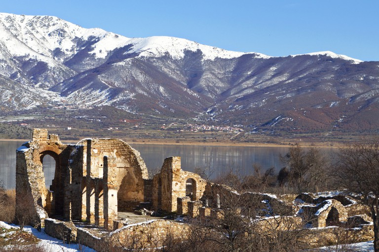 Saint Achilleios old Byzantine church ruins at lake Prespa in Greece © Panos Karas / Shutterstock