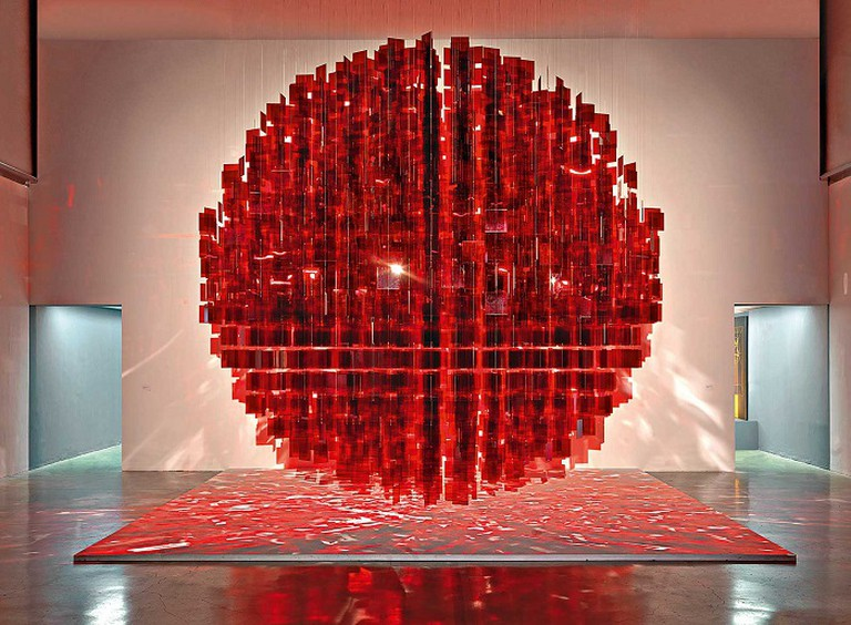 Julio Le Parc Sphère Rouge (Red Sphere), Courtesy Photo | © André Morin, Perez Art Museum Miami