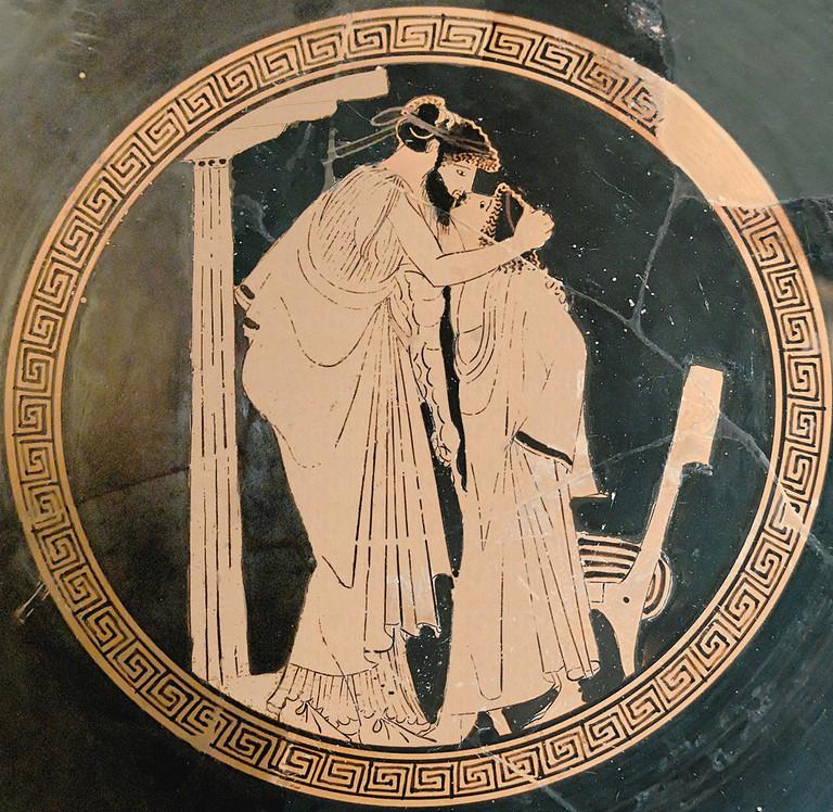Erastes (lover) and eromenos (beloved) kissing| © Marie-Lan Nguyen/WikiCommons