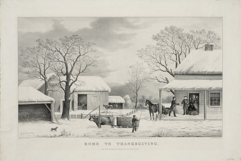 Home to Thanksgiving, lithograph by Currier and Ives (1867) | Public Domain/WikiCommons