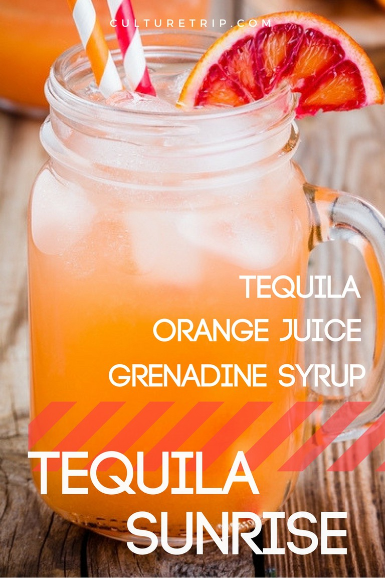 Tequila Sunrise, 15 3-Ingredients Cocktails