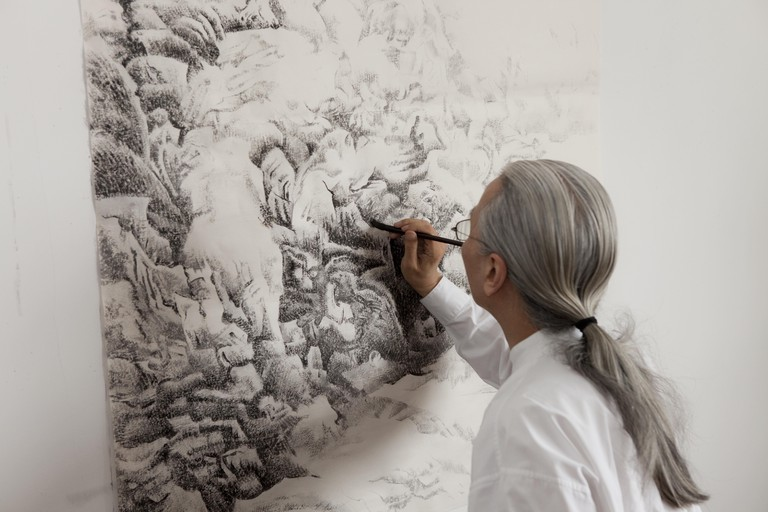 Liu dan painting a portion of a landscape, © The Enduring Passion For Ink, © Filming at the studio with bingyi, © Yang Jiechang painting, © Britta Erickson