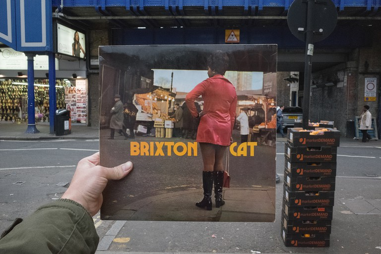 Joe's All Stars, Brixton Cat (Trojan Records, 1969), rephotographed on Atlantic Road, London SW9, 46 years later. © Alex Bartsch