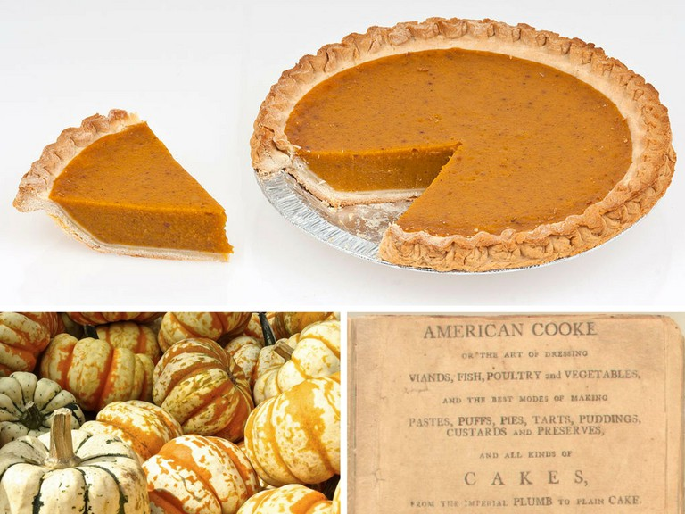 Pumpkin Pie Whole Slice | © Evan-Amos/WikiCommons | Pumpkins/Pexels | American Cookery (1st Ed, 1796, cover) | Public Domain/WikiCommons
