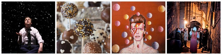 Last Christmas | Courtesy Of Edinburgh's Christmas // Chocolate | © Hans/Pixabay // David Bowie | © WikiCommons // Group On The Close | Courtesy Of The Real Mary King's Close