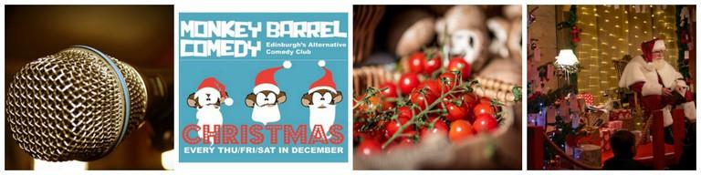Karaoke | © crebao_guita/Pixabay // Christmas Comedy Show | Courtesy Of Monkey Barrel Comedy Club // Edinburgh Farmers Market | © Alasdair/Flickr // Santas Groto | © Llyod Smith/Courtesy Of Edinburgh's Christmas