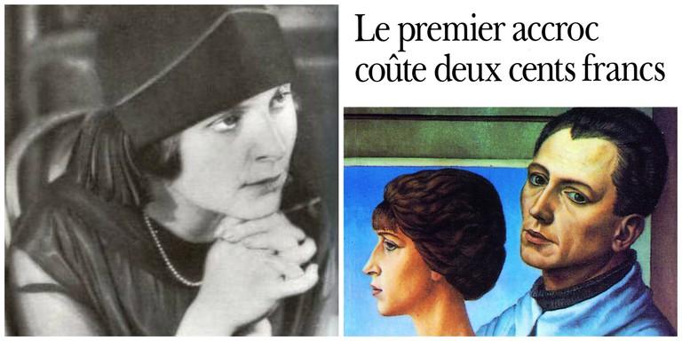 Elsa Triolet in 1925 │© WikiCommons ; Elsa Triolet's Le premier accroc coûte 200 francs│© Gallimard