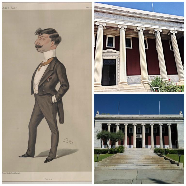 Caricature of Greek Minister M John Gennadius | © Spy /WikiCommons / Gennadius Library, Athens | © Dimitris Kamaras/Flickr / Gennadius Library |© Neosmyrnian/WikiCommons