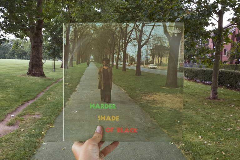 Various Artists, Harder Shade of Black (Santic, 1974), rephotographed in Hackney Downs, London E5, 42 years later. © Alex Bartsch