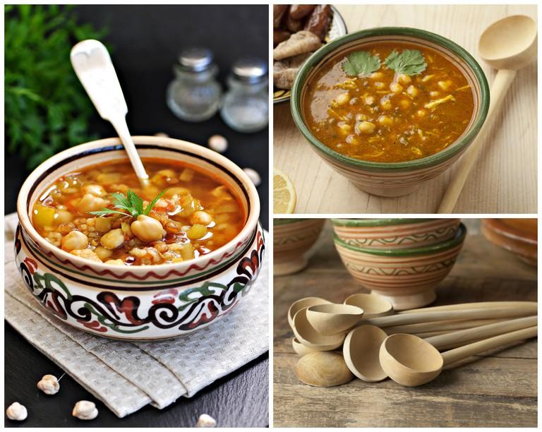 Moroccan Harira and wooden spoons / © Tanya Chudovska (left), Shutterstock; © picturepartners (right)