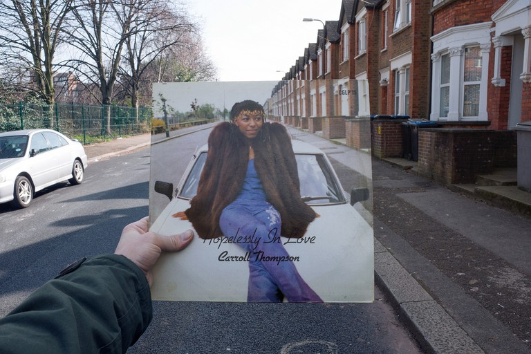 Carroll Thompson, Hopelessly in Love (Carib Gems, 1981), rephotographed on Milton Avenue, London NW10, 34 years later. © Alex Bartsch