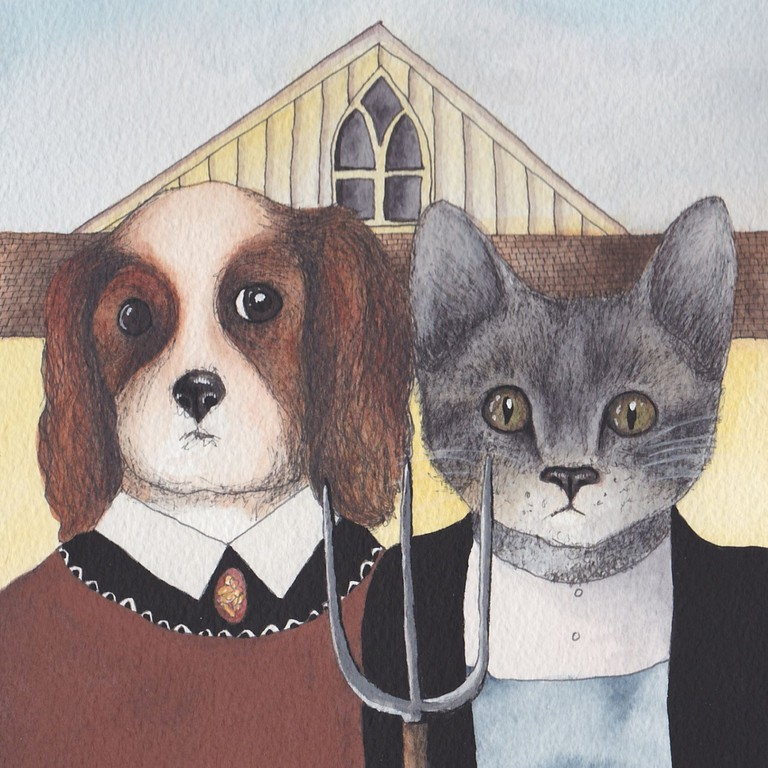 Design No. 29: Cavalier King Charles Spaniel greeting card with cat in Grant Wood's 'American Gothic' style, via Etsy