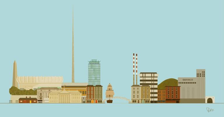 Dublin Skyline by Donal Mangan   Courtesy of Jam Art Prints