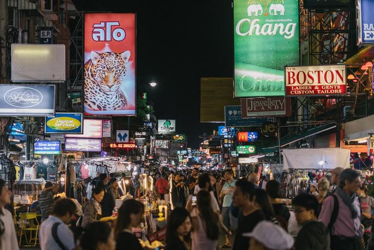 Khoa San Road Nightime-Bangkok-Thailand