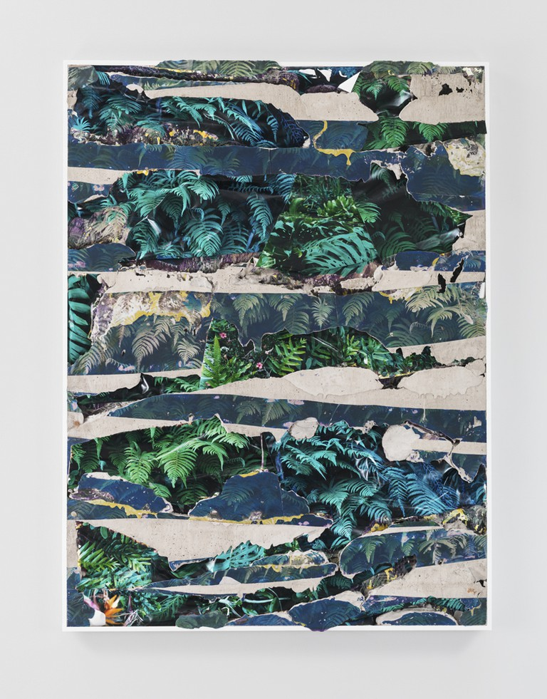 Kauai Green Concrete Bend, 2014 C-prints, emulsion transfer, concrete, aluminum frame 60 1/2 x 45 1/2 x 2 inches | Courtesy of Letha Wilson