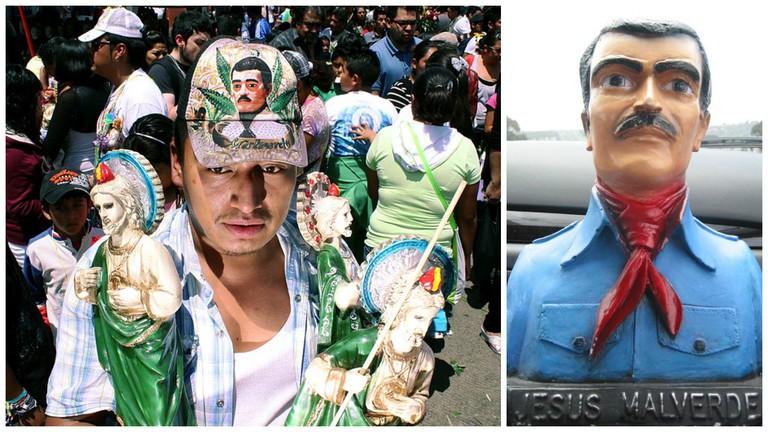 Malverde cap   © Angel Morales Rizo/Flickr / Malverde figurine   © niceness/Flickr