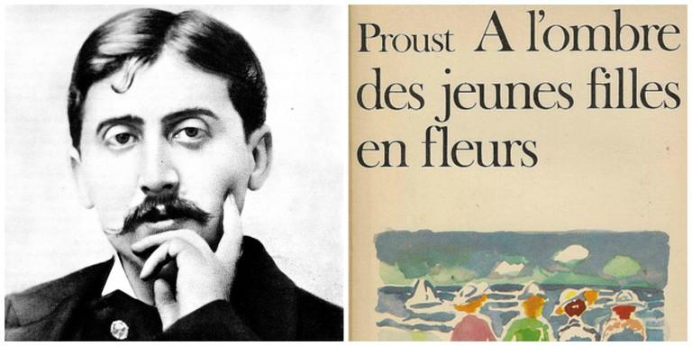 Marcel Proust in 1900 │© Otto Wegener ; Marcel Proust's A l'ombre des jeunes filles en fleurs │© Gallimard