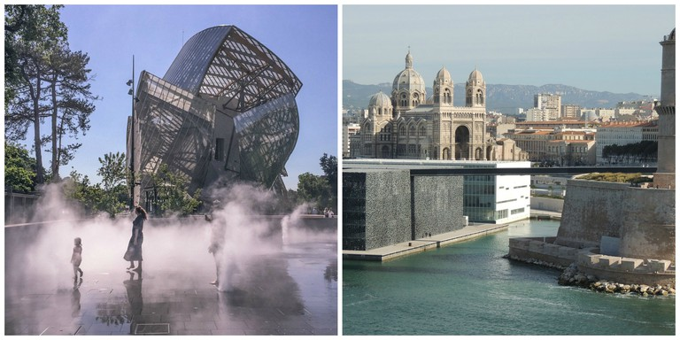 Mist fountains in front of the Fondation Louis Vuitton in Paris │© Voyages etc… ; Redeveloped harbor and museum in Marseille │© michelboucly