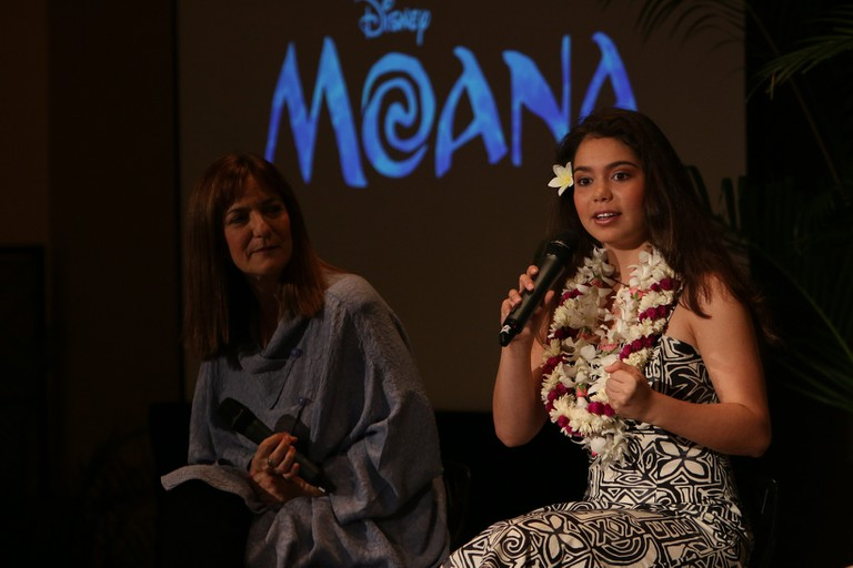 Producer Osnat Shurer and the voice of Moana, Auli'i Cravalho Photo by Hugh E. Gentry. © 2015 Disney. All Rights Reserved.