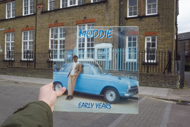 Moodie, Early Years (Moodie Music, 1974), rephotographed on Downhills Park Road, London N17, 41 years later. © Alex Bartsch