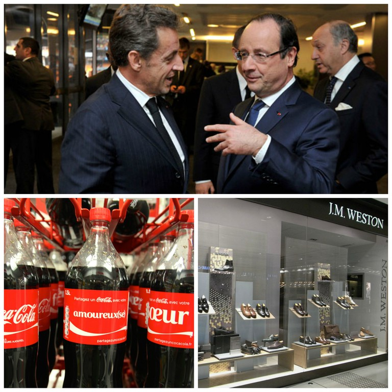 Nicolas Sarkozy and François Hollande at a memorial service for Nelson Mandela on December 19th, 2013 │© GovernmentZA ; French Coca-Cola bottle │© he who would be lost ; J.M. Weston shoe shop │© Hboalamc