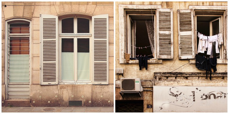 Parisian windows │© epicantus ; Clothes drying outside window in Marseille │© schaerfsystem