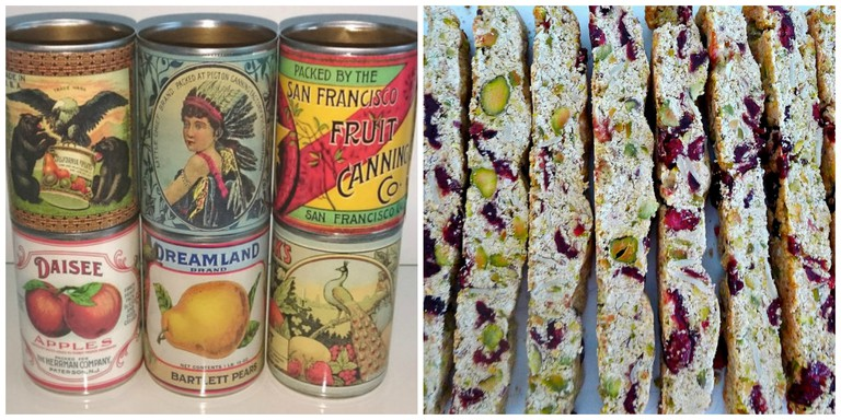 Vintage-inspired tins from Easy and biscottis. Images by © VintageFoodCans and © Lori L. Stalteri