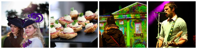 Ladies Day at Leopardstown| Courtesy of Leopardstown Christmas Festival / Hors d'oeuvres | Courtesy of Leopardstown Christmas Festival / Light projection at Trinity College Dublin | © Daniel Dudek/Flickr / Niall Breslin of The Blizzards | © Junction Festival/WikiCommons