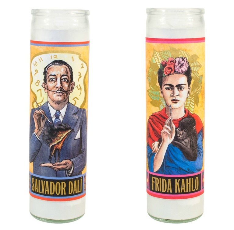 Salvador Dalí (left) and Frida Kahlo (right) secular saint candles, via the Unemployed Philosopher's Guild