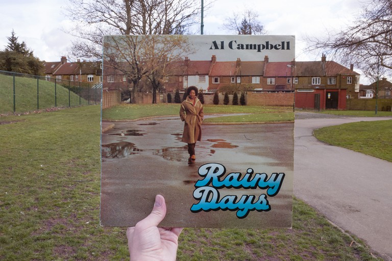 Al Campbell, Rainy Days (Hawkeye, 1978), rephotographed in King Edward VII Park, London NW10, 38 years later. © Alex Bartsch