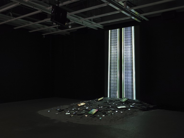 Black Friday, 2016, and The Litany, 2016 by Sophia Al-Maria. Installation view Sophia Al-Maria: Black Friday (July 26-October 31, 2016). Collection of the artist; courtesy Anna Lena Films, Paris and The Third Line, Dubai. Whitney Museum of American Art; New York. Photo: Ron Amstutz