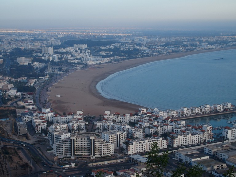 AGADIR travel city landscape in MOROCCO with white buildings cityscape and beach at Atlantic Ocean © Photo Holidays / Shutterstock