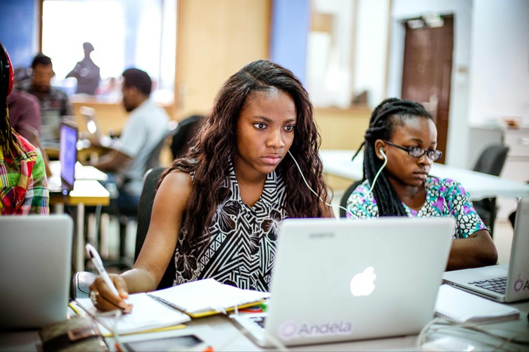 Fadekemi Ogunwa, one of the admitted ladies from the first All Female Boot Camp, works on a project during her training period. | Courtesy Andela.