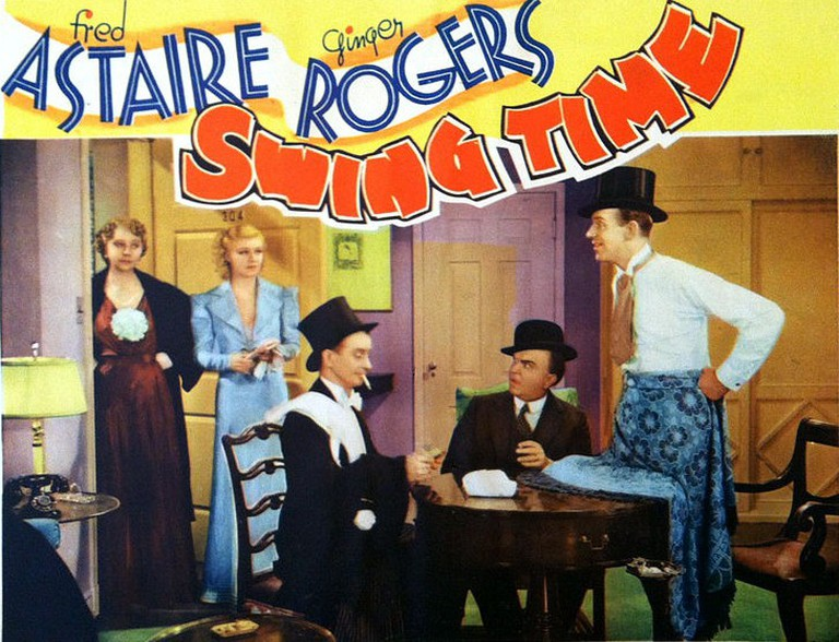Lobby card from the American musical film Swing Time (1936) with Fred Astaire and Ginger Rogers. | ©RKO / Wikimedia Commons