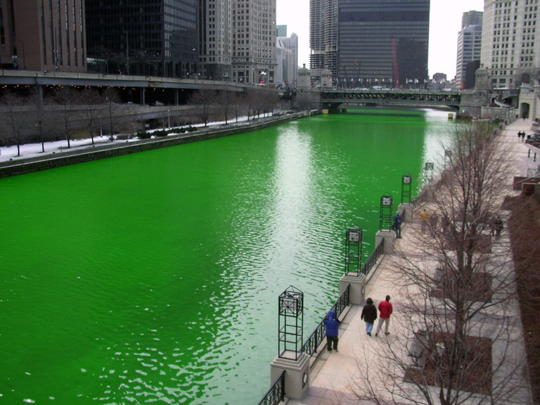 The Chicago River dyed green for St. Patrick's Day, courtesy of WikiCommons