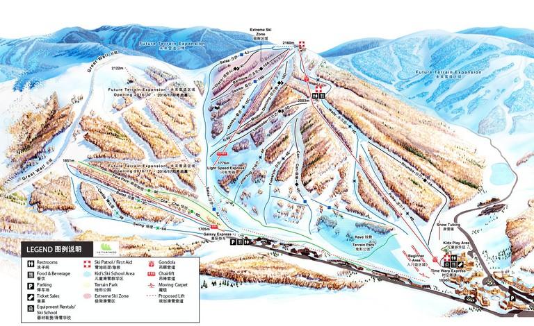 Thaiwoo Ski Resort Map   Courtesy of Thaiwoo Ski Resort