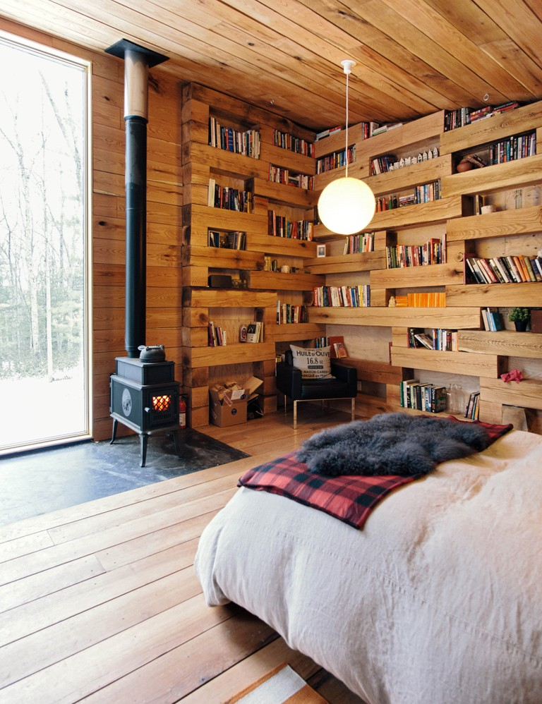Library in log cabin
