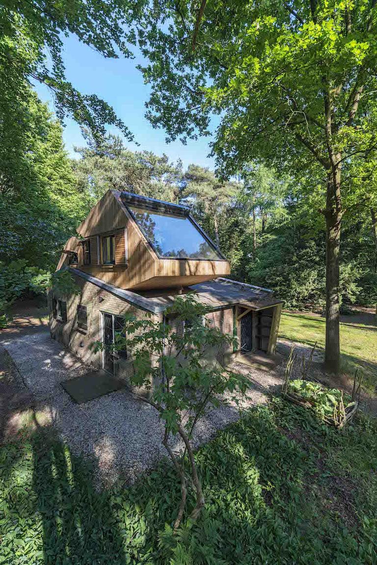 Log cabin with glazed window