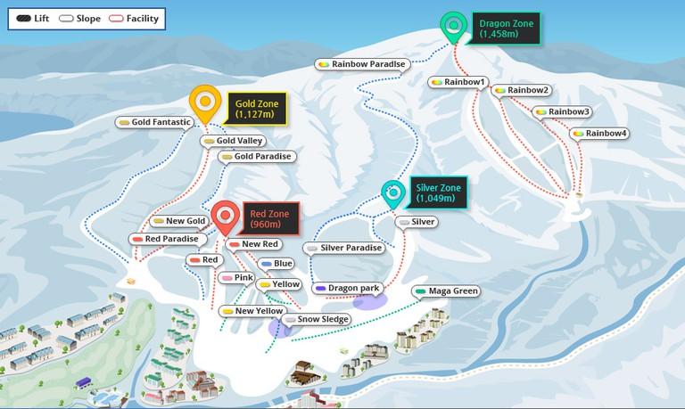 Yongpyong Map   Courtesy of Yongpyong