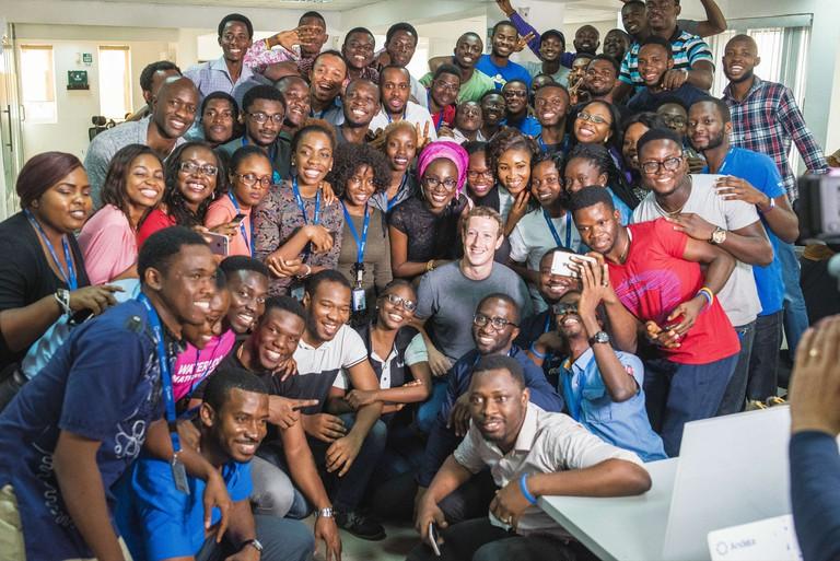 Zuckerberg with the AndelaLagos team. | Courtesy Andela.